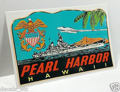 Pearl Harbor Hawaii Vintage Style Travel Decal / Vinyl Sticker, Luggage Label