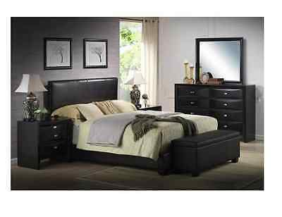 BLACK Faux Leather Queen Size Bed Set ...