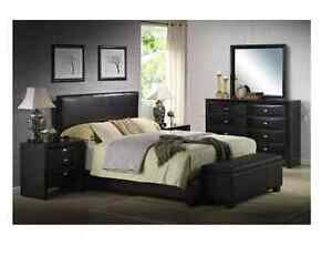 Black Faux Leather Queen Size Bed Set Bedroom Headboard Footboard Furniture Rail