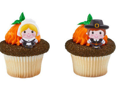 24 Thanksgiving Pilgrim Cupcake Rings Cake Toppers Decorations Party Favors