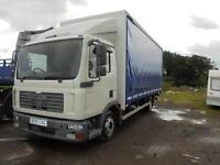 Man 7.5 Ton 2007 day cab curtain-sider. New Tacho-graph fitted