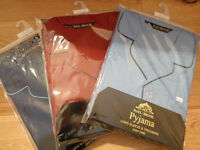 NEW - 3 PAIRS GENTS PYJAMAS, COTTON, SIZE XXL, STILL IN PACKAGING