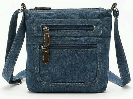 New Ladies Zipper Solid Color Denim Crossbody Bag