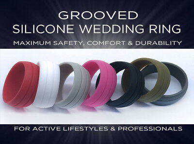 Groove Wedding Band (Grooved Silicone Rubber Wedding Engagement Ring Band Outdoor Sport Men Woman US )