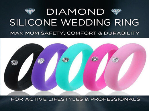 DIAMOND SILICONE WEDDING RING -  Men Women Band Fashion Jewe