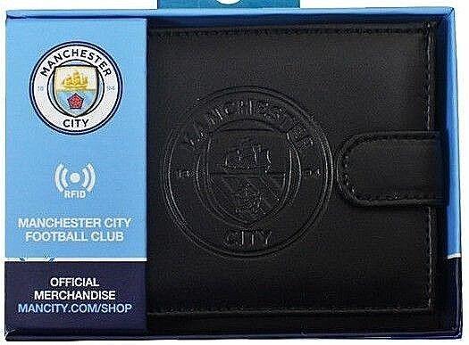 Manchester City FC Rfid Man Echtleder Fußball Sport Geldbeutel Geldbörse Mcfc