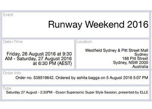 Runway weekend 2016 Tickets Sydney City Inner Sydney Preview