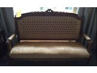 Vintage Ornate Carved Gilt Antique style reproduction gold heavy sofa