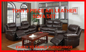 **HOT SUMMER SALE** TONY 3PC AIR LEATHER SOFA SET