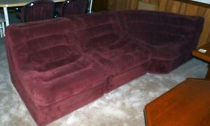 Six Piece Velour Sectional Couch