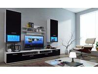 MODERN WALL UNIT LUMIA ,NEW, HIGH QUALITY TV UNIT 2X CABINET, HANGING SHELF. Colour Matt
