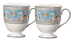 New In Box Set of 2 Wedgwood Florentine Turquoise Mugs RRP $329