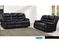3 & 2 black leather recliner sofas