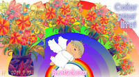 The rainbow shines color pencil flower
