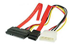 SATA Combo Data Cable to 4 Pin IDE Molex & Serial ATA Power HDD DVD Adapter Lead