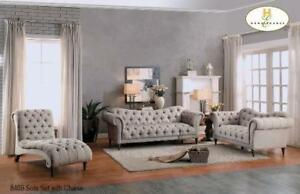 HERRINGBONE FABRIC MODERN 3 PC SOFA SET WITH CHAISE (MA370)