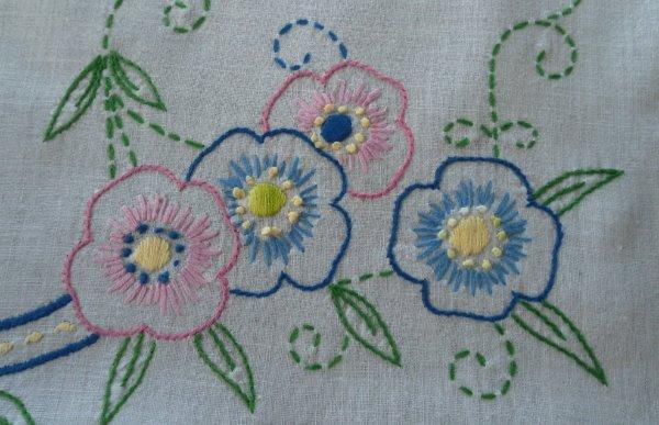 Vintage Linen Table Runner Hand Embroidered Pink Blue Floral Crochet Lace