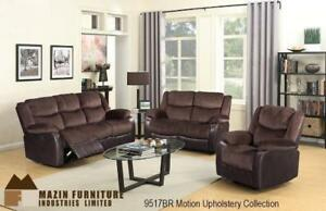 Motion Upholstery Collection Recliner Set in Brown (MA378)