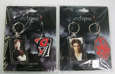 "Lot of (2) Twilight Saga Eclipse Keychain Sets ""Jacob"" and ""Edward & Crest"" NIP"