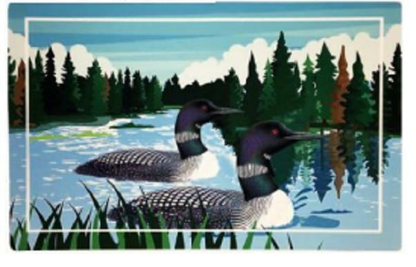 Loon Birds on Lake Weathergripper Floor Mat Natural Rubber Bath Entry Boat 2 X 3