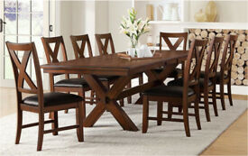 Large Whalen Solid Acacia Wood Extending Dining Table & 8 Chairs