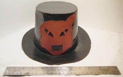 Old Heavy Cardboard Halloween Top Hat w/ Orange Angry Cat Head - as is