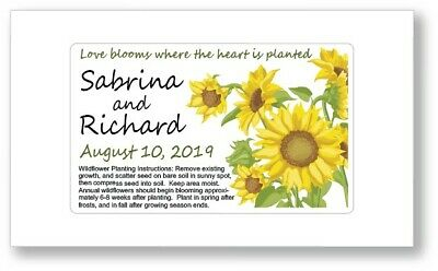 50 Sunflower Wedding Bridal Shower Favor Seed Packets Personalized Garden Rustic