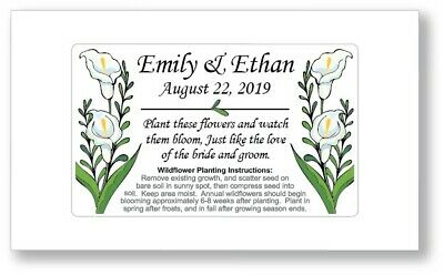 50 Personalized Calla Lily Wedding Bridal Shower Favors Seed Packets Wildflower Bridal Calla Lily Favors