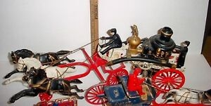 Antique assorted collection of Cast Iron fire wagons Hubley etc London Ontario image 2