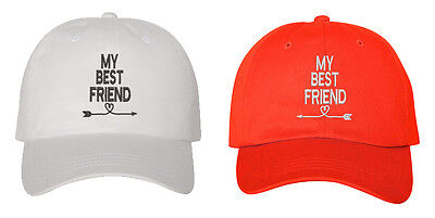 Best Friend White Hat - My Best Friend Pair Couples Low Profile Baseball Caps White And Red