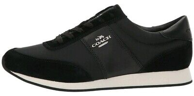 Coach Raelyn Runner Trainers Sneakers Shoes Black Suede Size 8 UK Womens Ladies