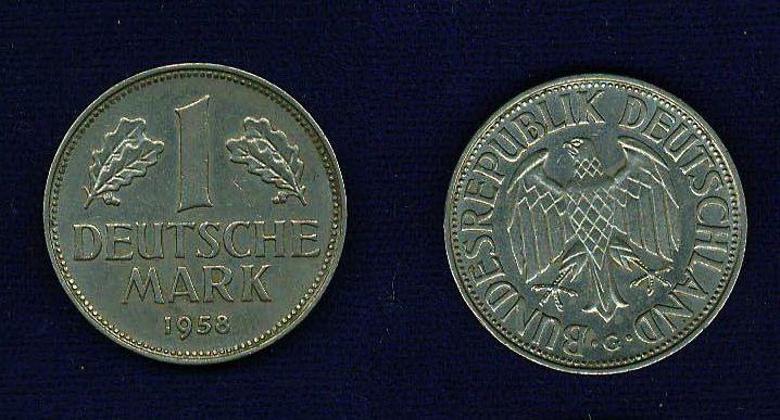 GERMANY REPUBLIC  1958-G  1 MARK COIN  XF+