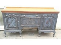 Large vintage mahogany sideboard or Servery in Shabby chic finish