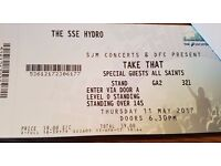 2 Tickets for Take That Standing - Thursday 11th May @ Glasgow Hydro