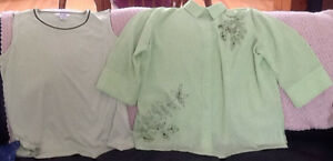 TOPS in great condition $5-$10 see all pics  GREEN WITH BLACK T
