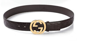 Brand New Gucci Real Leather Belt Brown Gold Buckle