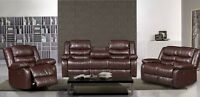 New 3pce Brown reclining drop table sofa, love, and chair $1800