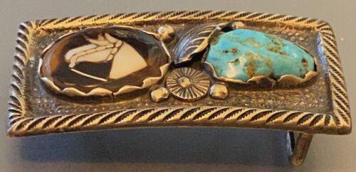 Zuni Dan Simplicio Belt Buckle Mosaic Inlaid Horse Head into Shell w Turquoise