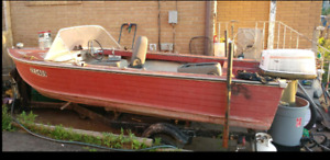 Lower price.  14ft deep ALUMINUM runabout.  40hp motor.  Trailer