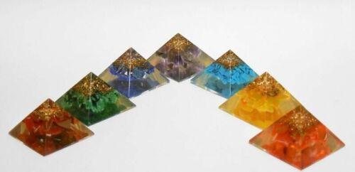 Set of 7 Baby Chakra Orgone Pyramid for Orgone Healing Reiki Healing Energy