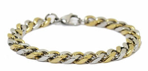 Men's Two Tone - Gold and Silver Cuban Link Bracelet - 8""