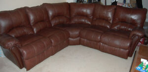 Lane L shaped brown leather couch