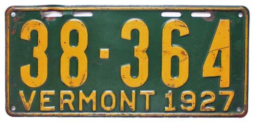 Vermont 1927 License Plate, 38-364, Good Condition, Original Paint