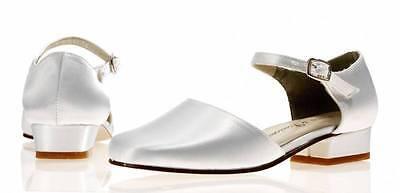 Elfenbein Satin Brautjungfer Blumenmädchen Schuhe Größen 9 10 11 12 1 2 Weide
