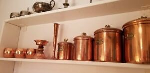 Vintage Sets of copper pots, pans, kettles