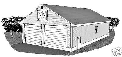 32 x 48 Two Bay FG / RV Garage /15 ft Ceiling & End Door Garage Building Plans