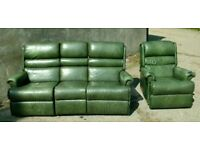 Retro Green Leather Sherbourne Recliner Sofa and Armchair