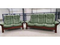 Ekornes stressless 3 seat recliner & 2 seater recliner Green 312191