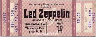 1  LED ZEPPELIN VINTAGE UNUSED FULL CONCERT TICKET 1973 Tuscaloosa, AL