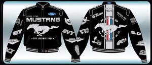 ford mustang collage jacket adult black twill jh design. Black Bedroom Furniture Sets. Home Design Ideas